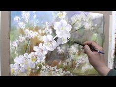 2권-매화-완성단계 Japan Watercolor, Watercolor Video, Watercolour Tutorials, Watercolor Flowers, Watercolour Painting, Pictures To Paint, Art Pictures, Gouache Tutorial, Plum Flowers