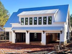 Plan 3 Bay Carriage House Plan with Shed Roof in Ba.- 3 Bay Carriage House Plan with Shed Roof in Back – thumb – 03 - Garage House, Carriage House Garage, Garage With Loft, Pole Barn Garage, Garage Roof, Garage Exterior, House Bar, Small Garage, Modern Garage
