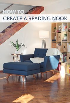 Interior DeHow To Create a Reading Nook (The Forever Home Project How to assemble a reading nook - a step-by-step guide with great product recommendations My Living Room, Living Room Chairs, Home And Living, Living Spaces, Dining Room, Home Libraries, Cozy Corner, Cozy Nook, Chair And Ottoman