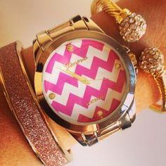 Gold Chevron Watch with Cosmopolitan Bangle and Rachael Cable Cuff  $34 SwellCaroline.com