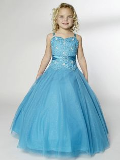 Princess Ruched V Neck Sweetheart Long Beaded Blue Girls Paceant Dress,Little Girl Prom Dress-Little girl prom dresses, little girl pageant dress, children pageant gowns sale online - Prom Dresses 2012_Plus Size Prom Dress_Plus Size Wedding Dress-TesBuy.com