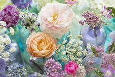 Summer flowers by Georgianna Lane - close up of single flowers in little vases