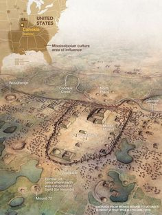 mississippian culture   Map of the eastern United States, showing Mississippian culture area ...