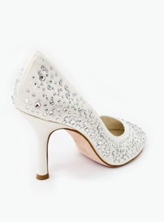6f478a0025d7 Beautiful Bridal Shoes for that special day by Crystal Couture. High  society cutaway heels made from the finest ivory satin and real Italian  leather soles.