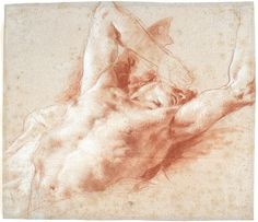 Giovanni Battista Tiepolo. A Fallen Angel. c. 1752. Red and white chalk on faded blue paper. 10 1/2 x 12 1/4 in.(1000×861)