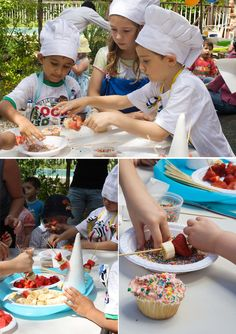 fruit kebab skewering class. Children could skewer their own fruit kebabs and eat them as they made them.
