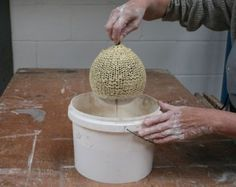 Great tutorial on making a sculptural piece using wool impregnated with slip.