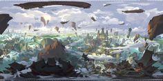 Panoramic painting, G liulian on ArtStation at https://www.artstation.com/artwork/3goQB