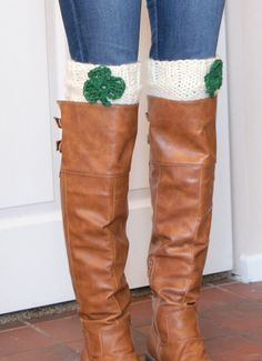 dfe6f196fa4c St. Patrick's Day Boot Cuffs, Shamrock St. Patrick's Day Outfit for Women,  Boot Cuff Socks, Knitted Boot Toppers [SHAMROCK BOOT CUFF]