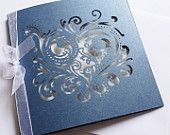 10 DIY wedding invitations laser cut navy blue heart design with white insert and ribbon
