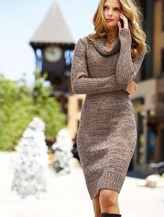 Probably The Only Sweater Dress I Would - Qoster Sweater Dress Outfit, Cowl Neck Sweater Dress, Knit Dress, Wool Dress, Victoria Secret Dress, Victoria Dress, Knit Fashion, Sweater Fashion, Fall Outfits