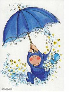 Klaasvakie se peresjoet is in sy maai in. Blue Umbrella, Umbrella Art, Under My Umbrella, Walking In The Rain, Singing In The Rain, Art Et Illustration, Illustrations, Fairytale Fantasies, Whimsical Art