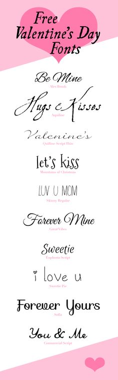 Free Fonts!  Perfect for Valentine projects. What's not to love?
