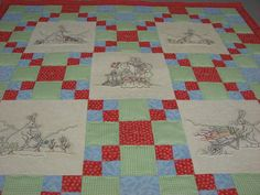 Peter Rabbit quilt, with beautifully embroidered blocks ~ by Deborah Borsos