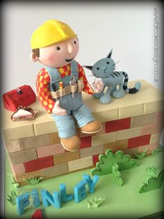 bob the builder and his cat sculpted birthday cake.bob the builder sitting on a wall cake Bob The Builder Cake, 4th Birthday Cakes, Birthday Ideas, Jake Cake, 3d Figures, Novelty Cakes, Cute Cakes, Cakepops, Models