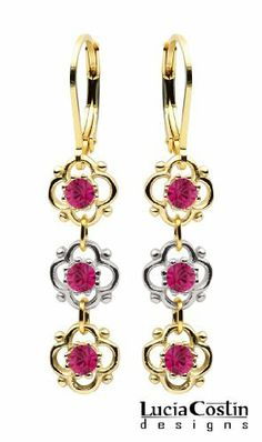 Victorian Inspired Dangle Earrings by Lucia Costin with 3 Fancy Flowers, Decorated with Dots and Fuchsia Swarovski Crystals; 24K Yellow Gold Plated over .925 Sterling Silver; Handmade in USA Lucia Costin. $36.00. Update your everyday style with inspiration when wearing this piece of jewelry. Unique jewelry handmade in USA. Lucia Costin flower shaped drop earrings. Garnished with fuchsia Swarovski crystals. Splendid combination of dangle elements