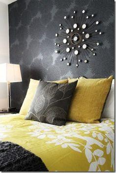 Yellow and Grey Bedroom #bedroom