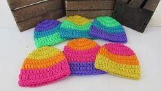 Crochet Preemie Neon Rainbow Hat, NICU Hat,Colorful Preemie Hat, Multiple Colors, Micro Preemie Hat, Girl or Boy Preemie Hat, Bright Stripes