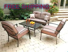 4 Piece Patio Garden Cushion Dining Sofa Seats Durable Powder Coated Steel Frame