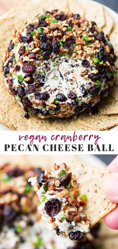 This festive Vegan Cranberry Pecan Cheese Ball is a great make-ahead appetizer and sure to be a hit! This festive Vegan Cranberry Pecan Cheese Ball is a great make-ahead appetizer and sure to be a hit! Vegan Cheese Recipes, Vegan Cream Cheese, Vegan Foods, Vegetarian Recipes, Cranberry Recipes Vegan, Vegan Thanksgiving, Thanksgiving Appetizers, Holiday Appetizers, Vegan Christmas Dinner