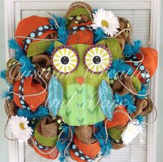 Adorable Owl wreath just in time for SPRING on Etsy, $85.00