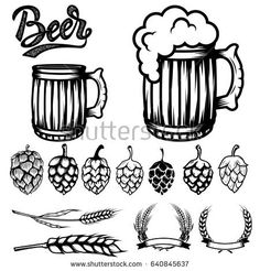 Set of components for beer labels design. Beer mugs, hops, wheat. Vector illustration