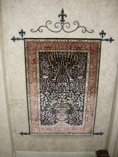 Custom Iron for Tapestry with fleur de lis finials and scroll.  Old World, Tuscan, Medieval, Traditional, Elegant Home Decor. Hand made and hand finished.