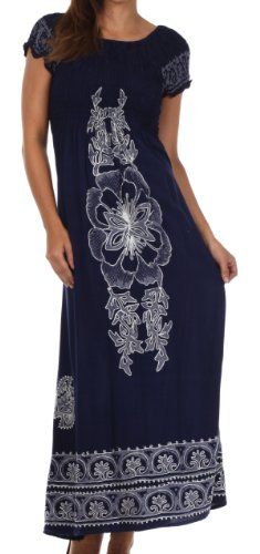 Sakkas Women's Batik Flower Smocked Bodice Long Maxi Dress Was:$89.99 Now On Sale:$35.00 & FREE Shipping