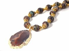 Honeycomb Brown Agate, Antique Gold Plated, Sliced Pendant Statement Necklace by KMagnifiqueDesigns on Etsy ~ EtsyJewelry