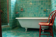 Cool turquoise accent chair in Bathroom Traditional with Porcelain Tile Looks Like Marble next to White Subway Tile Bathroom alongside Cheap Basement Remodeling Ideas and Cheap Easy Patio Ideas