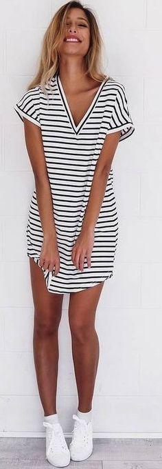 Stripe Tee Dress                                                                             Source