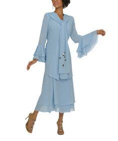 Loving this Cercula Blue Bell-Sleeve Jacket Set - Women & Plus on #zulily! #zulilyfinds