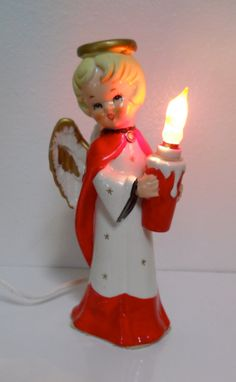 Vintage Tall Christmas  Angel Figurine Light by cyndalees on Etsy