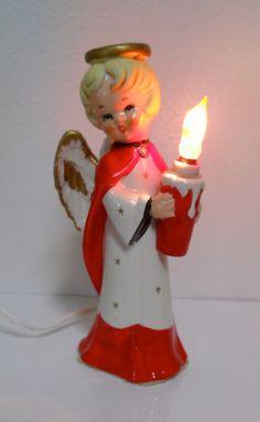 Vintage Tall Christmas  Angel Figurine Light by cyndalees on Etsy