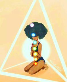 I Am in Alignment with my Highest Greatest Purpose Black Love Art, Black Girl Art, Art Girl, Girls Girls Girls, Chakras, Arte Black, Natural Hair Art, Black Cartoon, Black Artwork