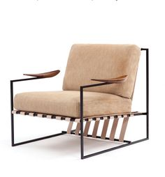 Jorge Zalszupin; Enameled Metal, Leather and Imbuia Wood 'Annette' Armchair, 1960s.