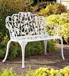 Powder Coated Aluminum Grape Vine Vintage Style Garden Bench In White ,  Http: