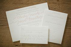 beautiful pale letterpress wedding invitation suite by @Bella Figura Letterpress