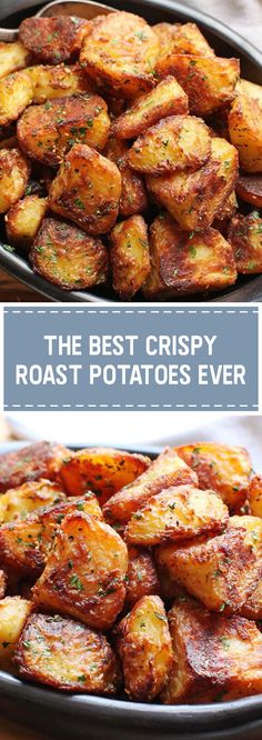 The Best Crispy Roast Potatoes Ever - goodrecipes.me The Best Crispy Roast Potatoes Ever - goodrecipes. Russet Potato Recipes, Scalloped Potato Recipes, Potato Dishes, Best Potato Recipes, Crispy Roast Potatoes, Parmesan Roasted Potatoes, Best Potatoes For Roasting, Recipe For Roasted Potatoes, Vegan Recipes With Potatoes