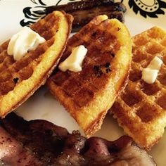 "Gritty Waffles Recipe - ""Topping it with cheese, scrambled eggs, and picante sauce would work for breakfast, or chili would work for a lunch/dinner."""