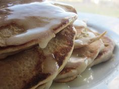 Butterscotch pecan buckwheat pancakes with an evil butter toffee sour cream syrup. Gluten free, pretty low fat...and absolutely divine.