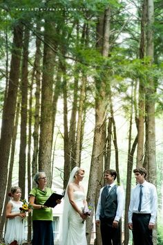 sometimes the location is everything... no decor needed! this ceremony took place in a beautiful wooded spot behind the couple's home!