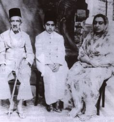 The last Nizam, Asaf Jah VII of the Indian princely state of Hyderabad, with Ghalib bin Awad al-Qu'aiti as a boy, who was to be the last ruler of the Qu'aiti Sultanate in the Hadramaut (southern Arabia) 1966-67, and his mother.