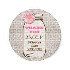 Barn Wedding Thank You Rustic Burlap Mason Jar Pink Gerbera Wedding Classic Round Sticker
