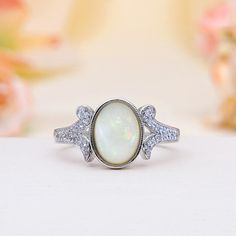 Sterling Silver Rainbow Fire Solid Australian White Opal Ring