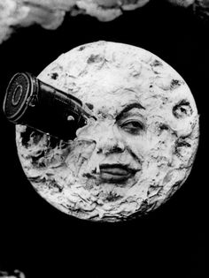 Iconic still from the 1902 Georges Méliès silent film Le Voyage dans la Lune (A Trip to the Moon), the first sci-fi film ever made.