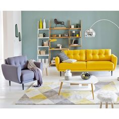 New living room decor yellow couch spaces ideas Room Design, Interior Design, House Interior, Interior Design Living Room, Interior, Living Decor, Apartment Living Room, Home Deco, Yellow Living Room