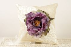 Burlap and lace ring bearer pillow with purple peony. Available at www.duryeaplace.com.