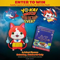 Are your kids crazy about Yo-Kai? The hit Disney series video game and toy brand is headed to movie theaters for just one day. YO-KAI WATCH: THE MOVIE EVENT debuts on Saturday October 15th only. Gather the kids and join Nate Adams Jibanyan and Whisper on an adventure that encourages the widest of imaginations! All attendees will receive an exclusive Yo-Kai Medal of the movies hero. And you can enter now on our Facebook page to win a four pack of tickets and a Yo-kai prize pack consisting of…