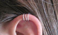 "No Piercing ""Triple Loops"" Ear Cuff for Upper Ear 1 Cuff Silver Tone or 17 Color Choices. $6.00, via Etsy."